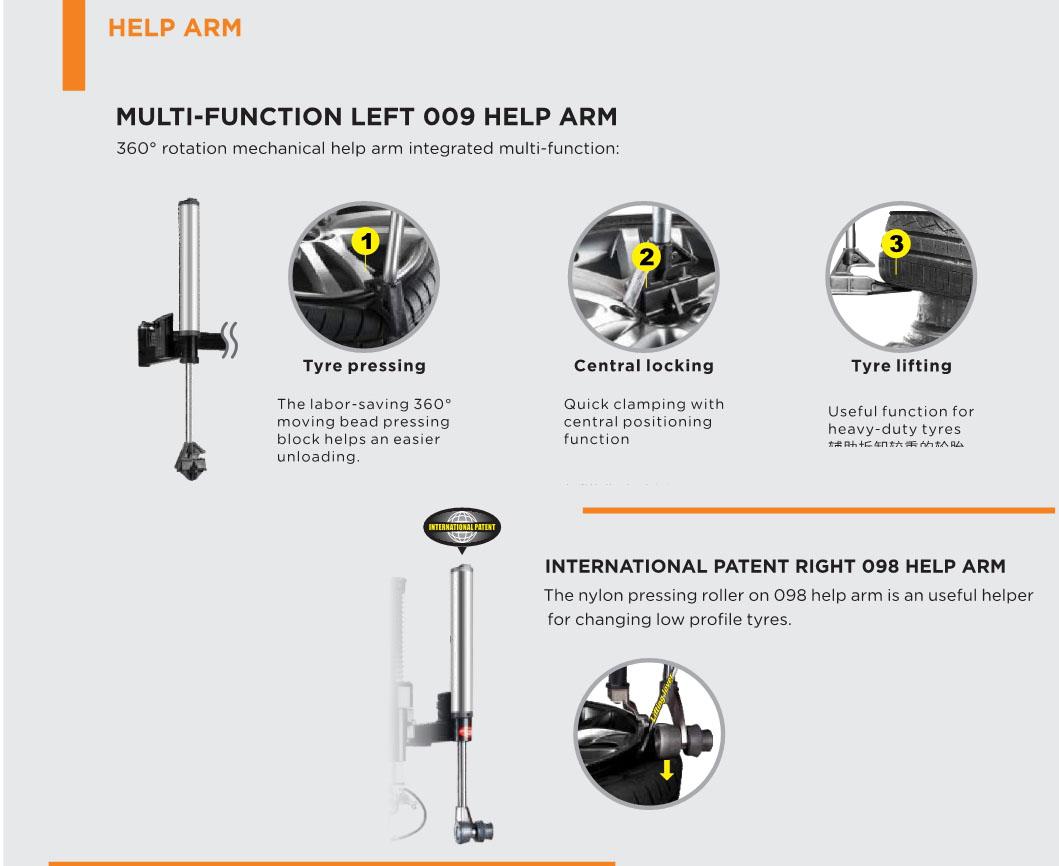 Multi-Function Left 009 help arm for U-2092 tire changer